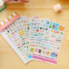 6 Sheets/Pack Kawaii Leuke Tekening Markt Planner Papier Dagboek Deco Stickers Pvc Transparante Scrapbooking