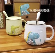 Cute 3D Cartoon Dinosaur Crocodile Porcelain Coffee Cup With Spoon Lid Creative Relief Ceramic Mug For Water Free Shipping