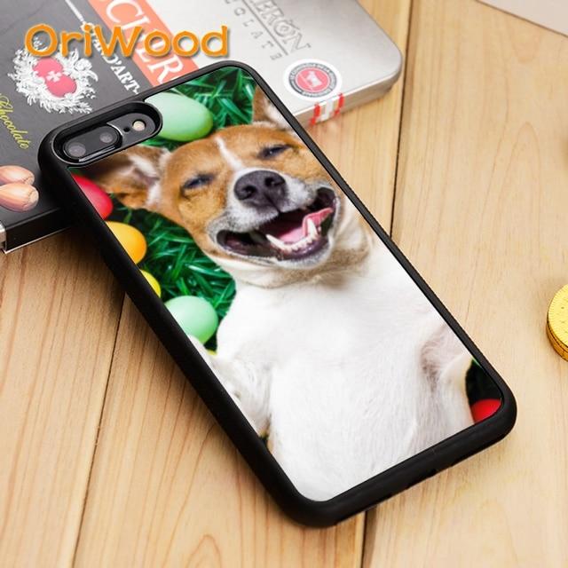OriWood Jack russell terrier cachorros de la cubierta de la caja para iPhone 5 5 s 6s 7 8 plus X XR XS 11 pro max Samsung Galaxy S6 S7 S8 S9 S10 plus
