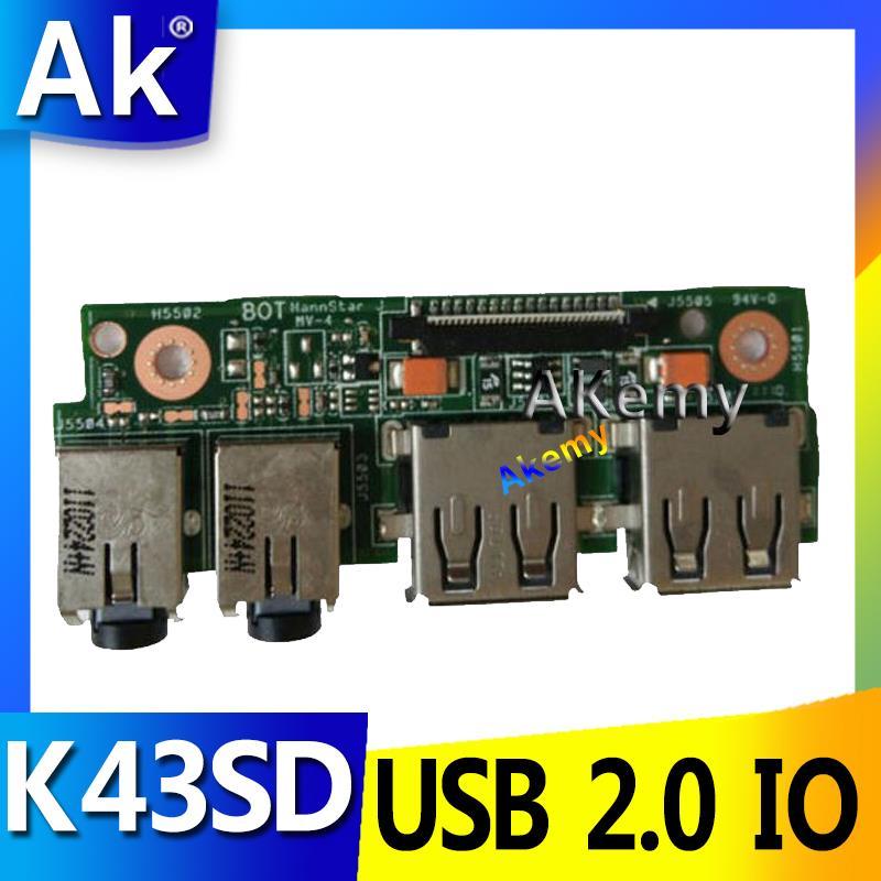 AK para For Asus K43 K43SV K43SD A43S X43S K43S K43SJ P43SJ K43E de Audio portátil USB 2,0 a de interfaz de conector de la tarjeta de alimentación de placa