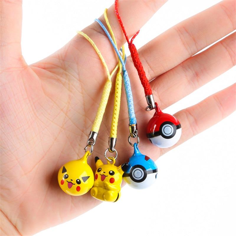 1 Pcs Cartoon Cute Pokemon Pikachu Elf Ball Keychains Anime Keyring Bell Key Chain Handbag Key Ring Kid Toy Pendant Phone Straps