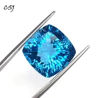 csj real natural blue topaz loose gemstone deep color big stone cushion16mm 23 5ct brilliant cut for diy jewelry 925 silver gold