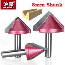 HUHAO 8mm shank V Bit spiek pełnowęglikowy cnc frez trzpieniowy 3D frezy do drewna 60 90 120 150 deg wolframu frez do drewna