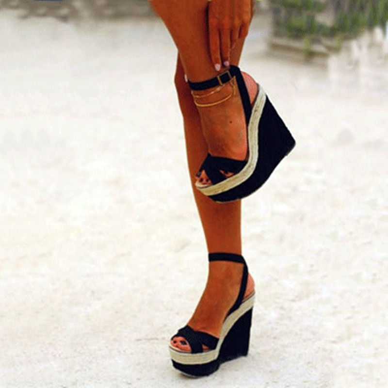 SHOFOO schuhe, Schöne modische frauen schuhe, wildleder,, über 5 cm wasserdicht, 14,5 cm stiletto sandalen keil sandalen.