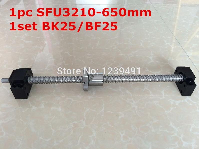 لولب كروي SFU3210 - 650 مللي متر مع قطع تحكم CNC ، BK25/BF25