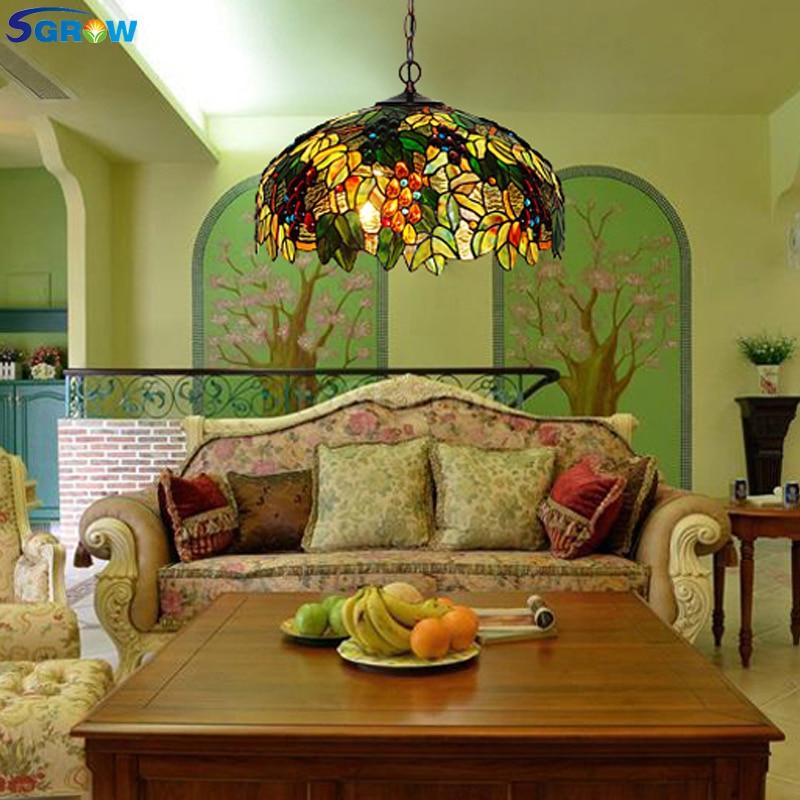 SGROW Tiffany-candelabros de cristal hechos a mano para sala de Estar, comedor,...