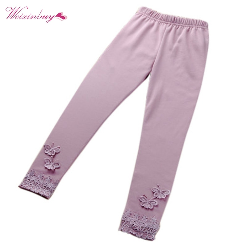 Stretchy Kid Baby Butterfly Lace Butterfly Pants Girl Pants Toddler Capris Solid Color