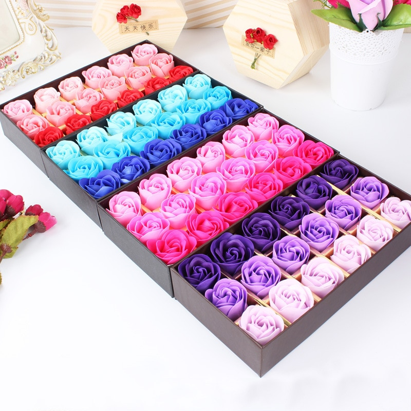 Surprise gift 18Pcs Rose Flower Heart Scented Petal Bath Body Soap Wedding Party Gift Creative Valentine's Day gift