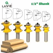 LAVIE 5 pièces 12mm 1/2 tige Bullnose demi-ronde avec roulement embouts pour bois outil de menuiserie fraise MC03009