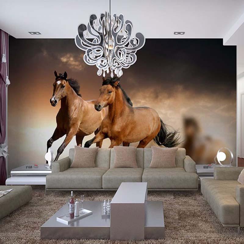 Фото обои 3D стерео Скачущая Лошадь Животное настенная современная простая гостиная ТВ диван фон Настенный декор обои 3D Фреска
