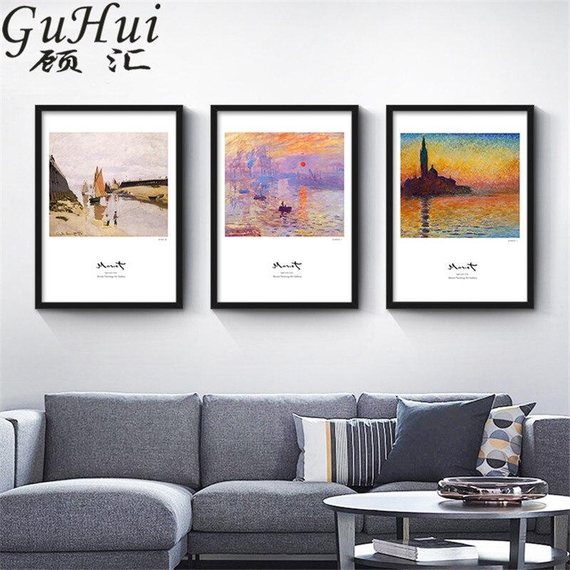 Cuadro de pared de lienzo para casa de playa impresionista de trabajo de Monet pintor Faro de atardecer cuadro decorativo para el hogar sofá póster barco