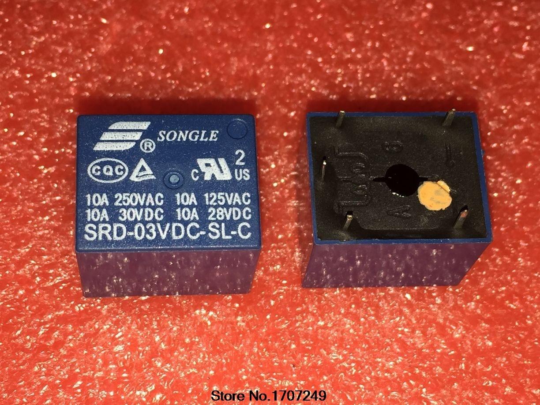 Frete Grátis 100% novo relé originais 10 pçs/lote SRD-03VDC-SL-C SRD-3VDC-SL-C 3 V/5PIN/10A