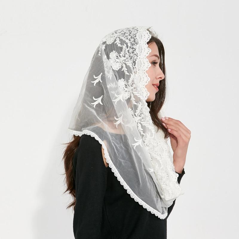 AliExpress - Couverture white black Catholic Head Scarf women Kerchief Chapel lace Church Veil Wedding bride Mantilla Latin Veils for Mass