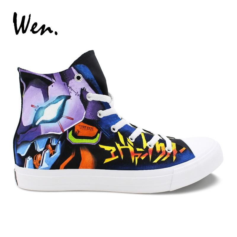 Wen anime design pintados à mão sapatos personalizados neon genesis evangelion tênis de lona alta superior unisex casual portátil plimsolls