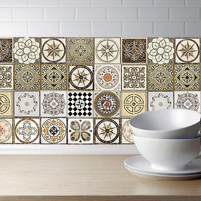 Azulejos adhesivos de pared Retro DIY PVC impermeable autoadhesivo pegatinas de pared arte muebles baño cocina azulejos pegatina