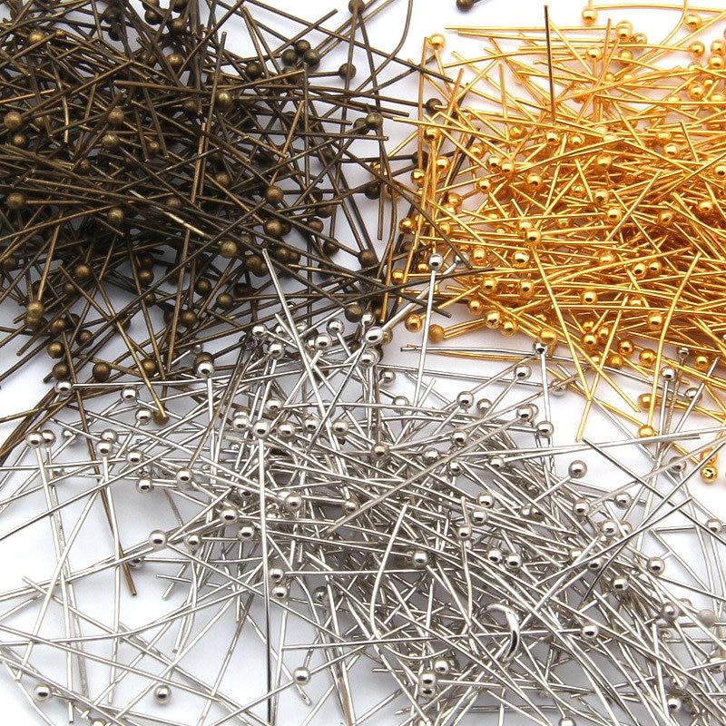 100pcs/lot Gold Bronze Rhodium Silver Color Copper Material Ball Head Pins Needles DIY Jewelry Acces