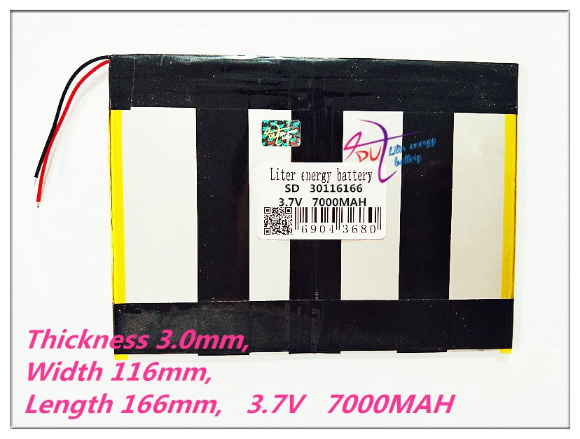 Tableta 30116166 capacidad de la batería 30115165 3,7 V Universal 7000MAH Li-Ion batería para Tablet pc 8 pulgadas 9 pulgadas 10 pulgadas