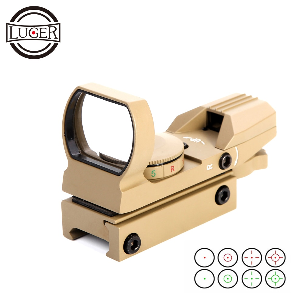 LUGER, óptica de caza, mira telescópica holográfica, punto rojo, reflejo de vista, 4 retículas, alcance táctico, 20mm, carril colimador, mira para pistola