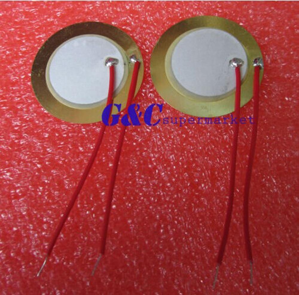 20PCS 27mm Piezo Elemente Echolot Sensor Trigger Trommel Disc + draht kupfer
