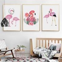 Toile de flamand rose avec affiches et imprimes nordiques  peintures danimaux a la mode  images artistiques murales pour enfants  decoration de la maison