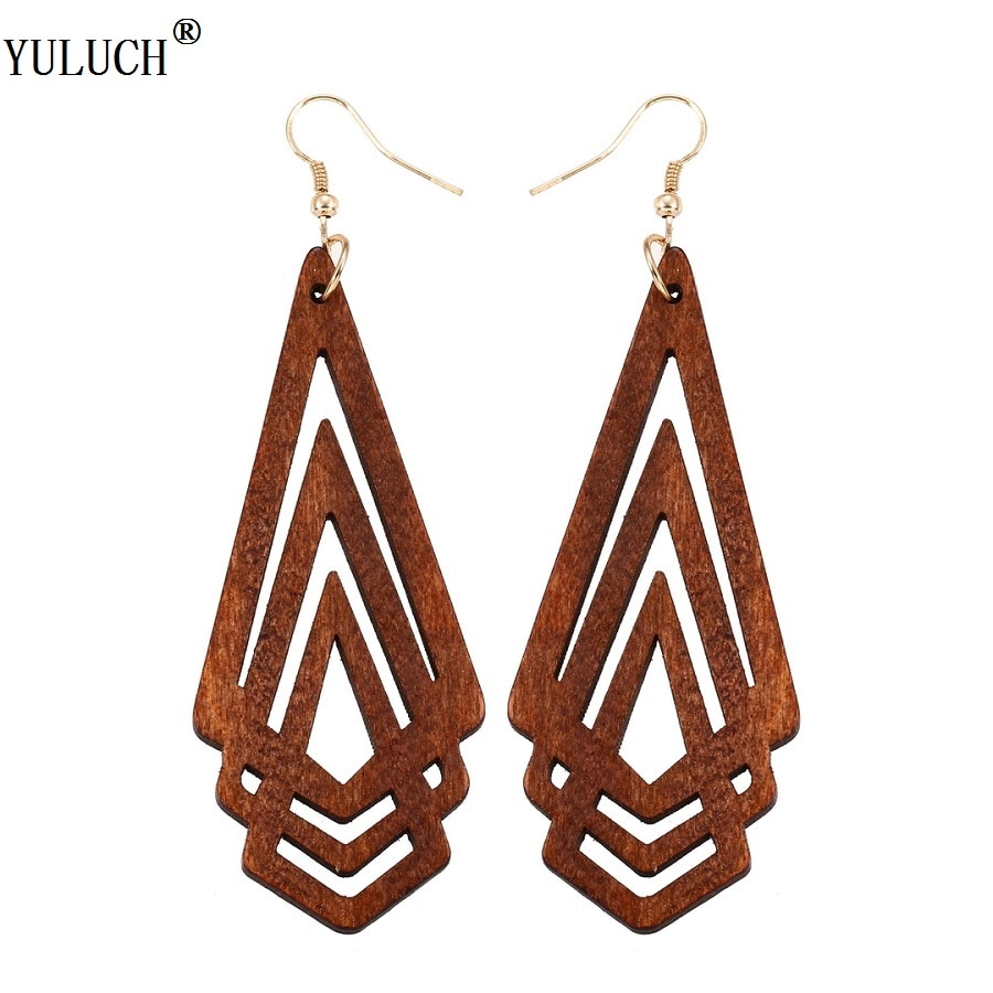 AliExpress - YULUCH Natural Wooden Earrings Geometrica Hollow Triangle Personality Simple Style Fashion Jewelry For Woman Girls Prom Party