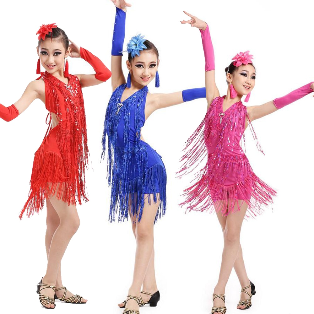 Girl Tassels Latin Dance Dress Ballroom Salsa Party Dancing Dress Competition Sequined Kids Stage we