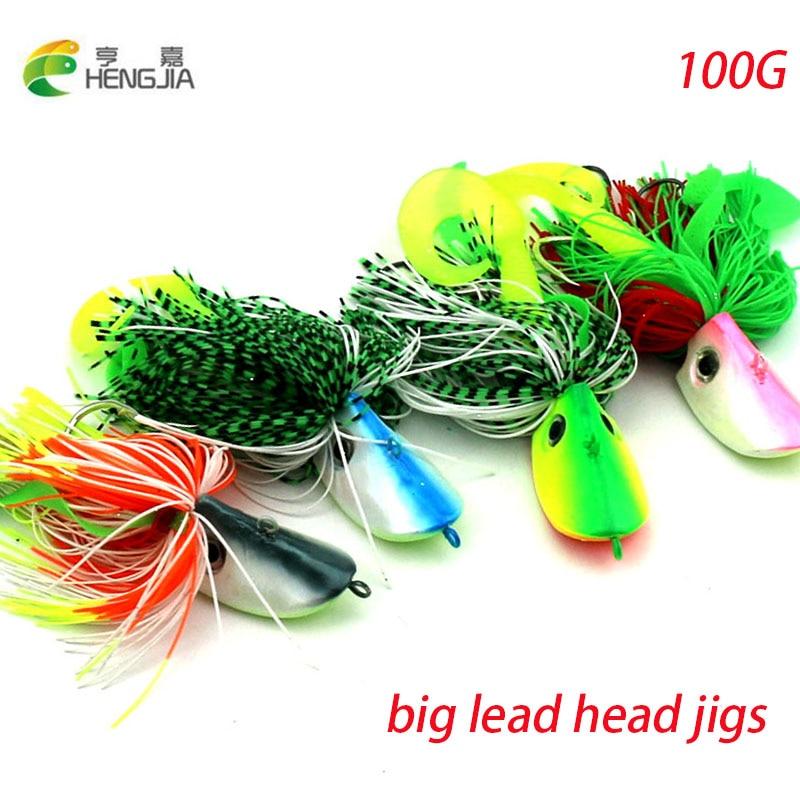 HENGJIA grande de 100G de cabeza de plomo plantilla buzzbait señuelo de pesca de cebo de pesca de plantilla de calamar de pulpo wobble pike pesca aparejos de pesca