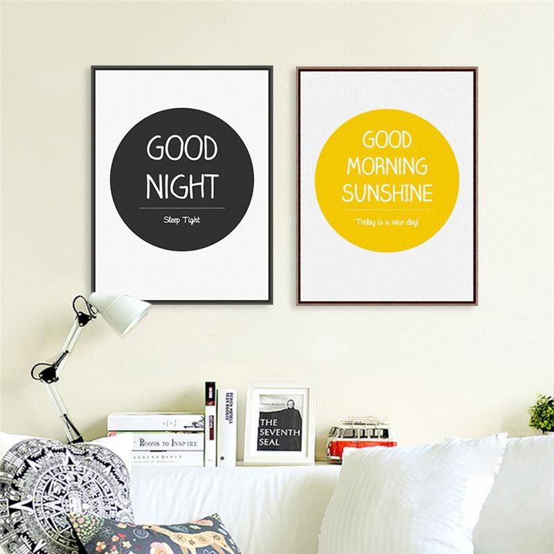 Estilo nórdico boa manhã noite sem moldura elegante bonito estilo simples inkjet pintura a óleo da lona pintura a tinta cartaz arte da parede