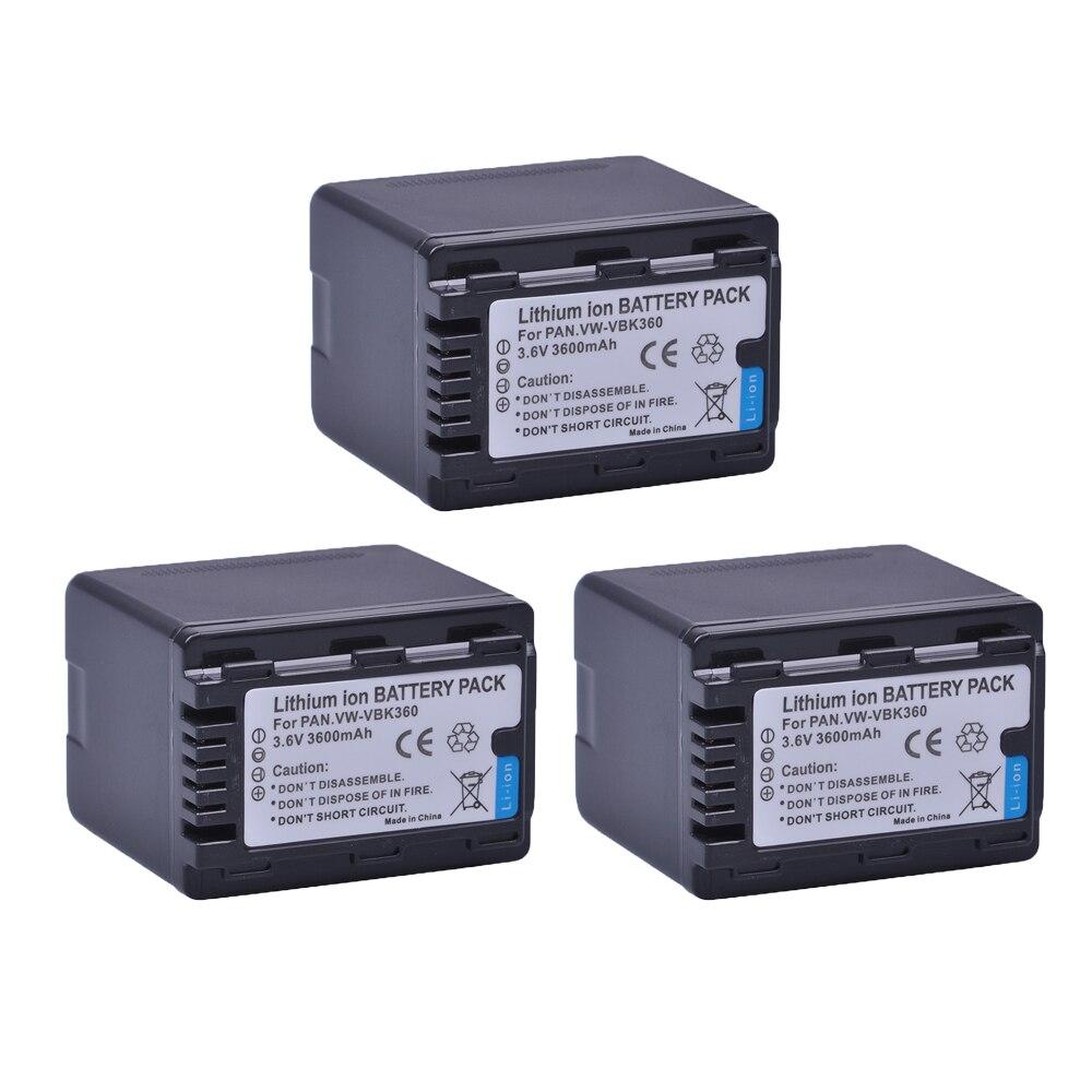 3 PC VW-VBK360 VW VBK360 VWVBK360 Bateria Da Câmera para Panasonic HDC-HS80 SD40 SD60 SD80 SDX1 SDR-H100 H85 H95 HS60 HS80 TM60