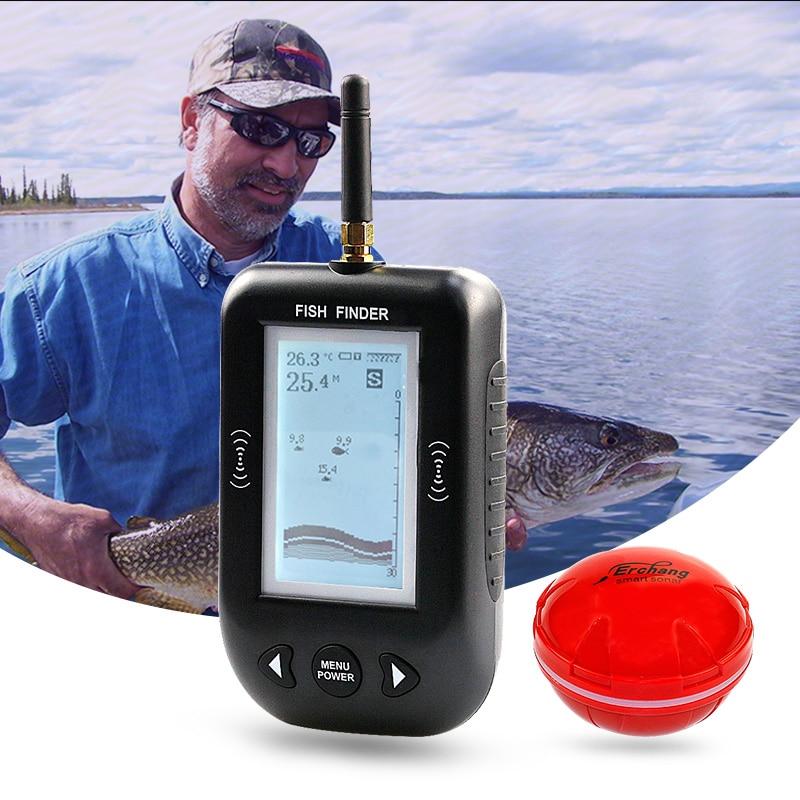 Buscador de peces de profundidad Erchang, alarma inalámbrica de eco Sounder, 0,6-100 m de profundidad, Sensor de transductor, Sonar para pesca