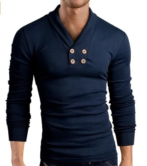 Autumn men's fashion  cotton V neck Solid double line buttons Slim T-shirt long-sleeve  men's casual tops clothing T88