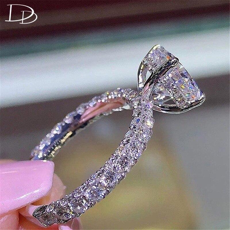 DODO Роскошные 3 стороны AAA циркон Сияющие кольца принцессы овальный камень свадебные модные ювелирные изделия для женщин Прямая поставка B2447
