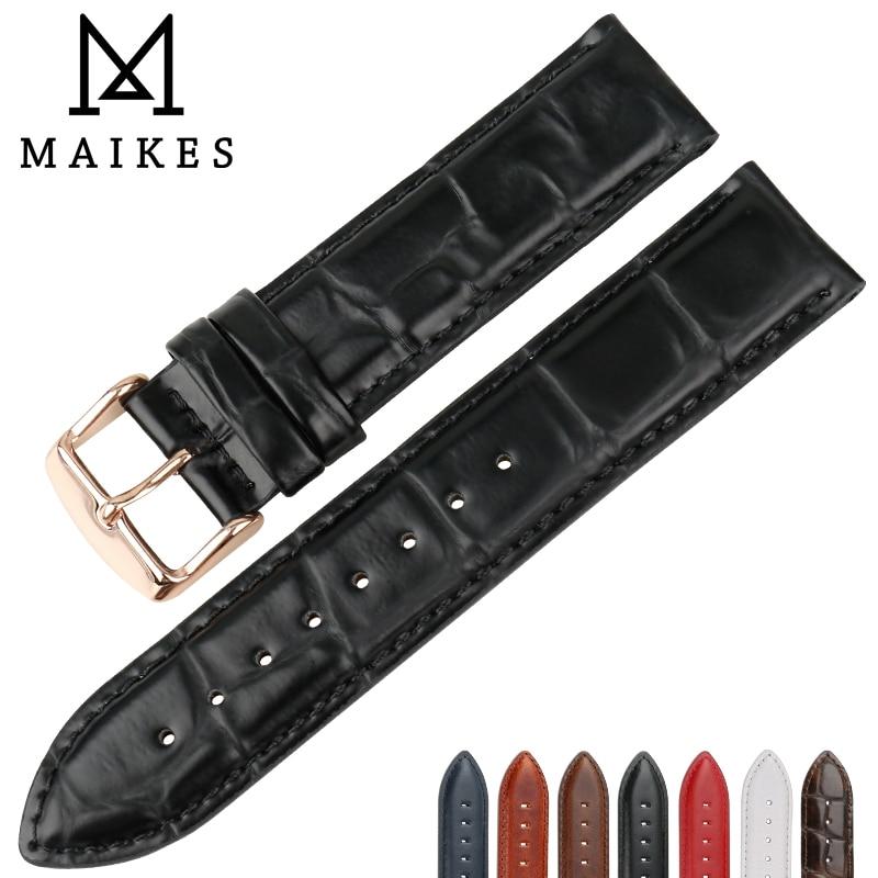 MAIKES-Correa de reloj de piel auténtica de cocodrilo, correa de repuesto de...