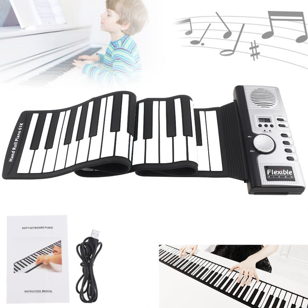 61 teclas, portátil, electrónico, de silicona, Flexible, manos enrolladas, Piano, altavoz incorporado MIDI Out, teclado, órgano