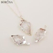 BOROSA bijoux rugueux Quartz blanc naturel sculpté flèche pendentif collier cadeaux créatifs