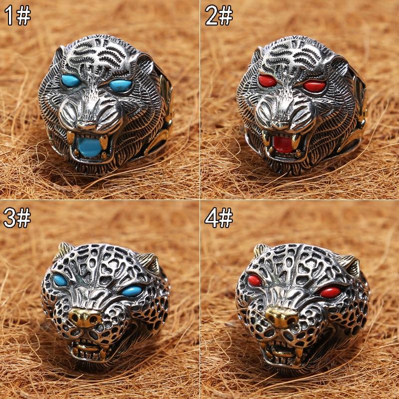 Thai silver restoring ancient ways ring inlaid stone tiger ring single male aggressiveness