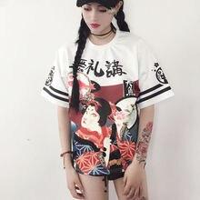 Genki fille Style de rue japonais impression exagérée T-shirt lâche étudiant adolescent hauts lettre Harajuku tissu
