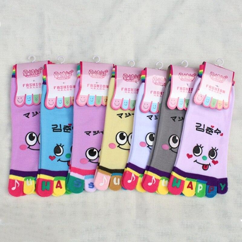 Chica nueva cara lindo divertido calcetines con cinco dedos entrenador dedo ojos grandes de Color del arco iris calcetines de tobillo para las mujeres