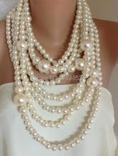 Gros bijoux de perles audacieux Chunky Multi brin déclaration collier de perles mariées demoiselles dhonneur cadeau bijoux-XZN144
