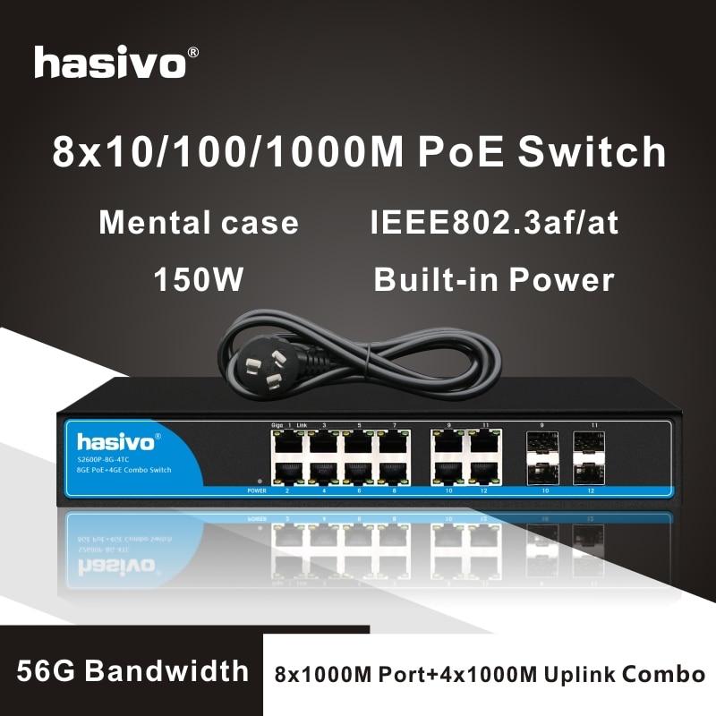 Фото - 8 Port gigabit PoE switch etherner switch  4 gigabit port uplink combo  4TC gigabit Switch 24 ports poe switch with 2 gigabit sfp port 400w poe switch 24 port full gigabit switch