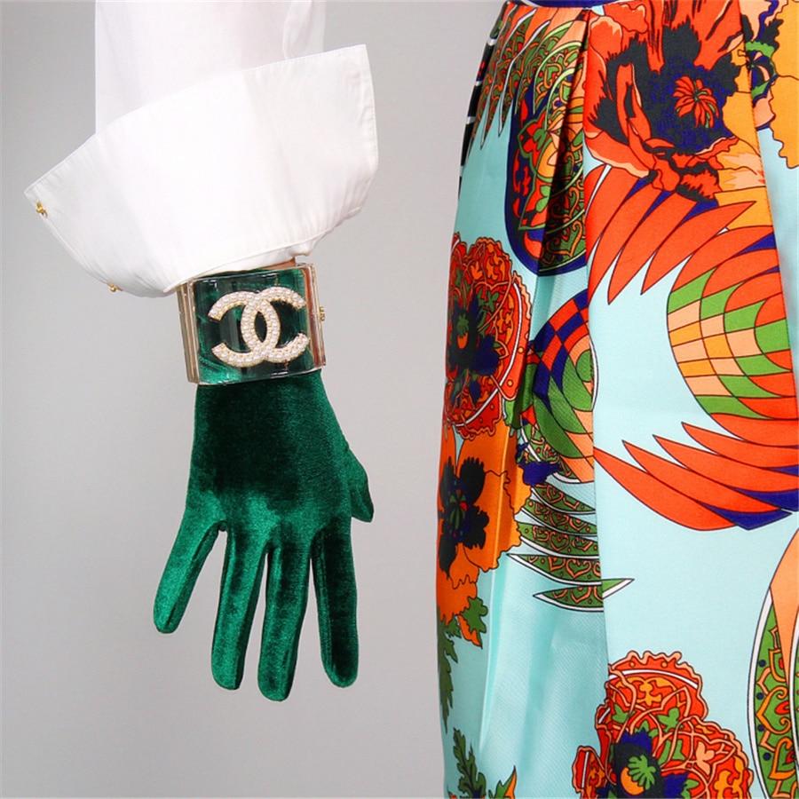 Female Velvet Gloves 22cm Short Green Velvet Green  Models High Elastic Velvet Gold Velvet Touch Gloves RLS022