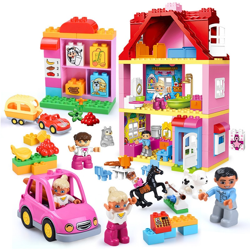 Diy Big Girl Friends Pink Villa Building Blocks Set Kids Compatible With Brand Bricks Hobbies Bricks