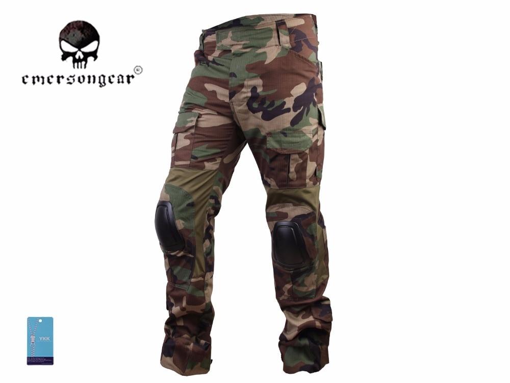 Pantalones militares Airsoft bdu de combate Emerson G3, pantalones tácticos con rodillera Woodland EM7044
