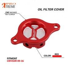 CNC de la motocicleta de cubierta de filtro de aceite de motor tapa para Honda CRF450R FCI 450R 2009, 2010, 2011-2014. 2015 CNC 2016 6061-T6 de aluminio