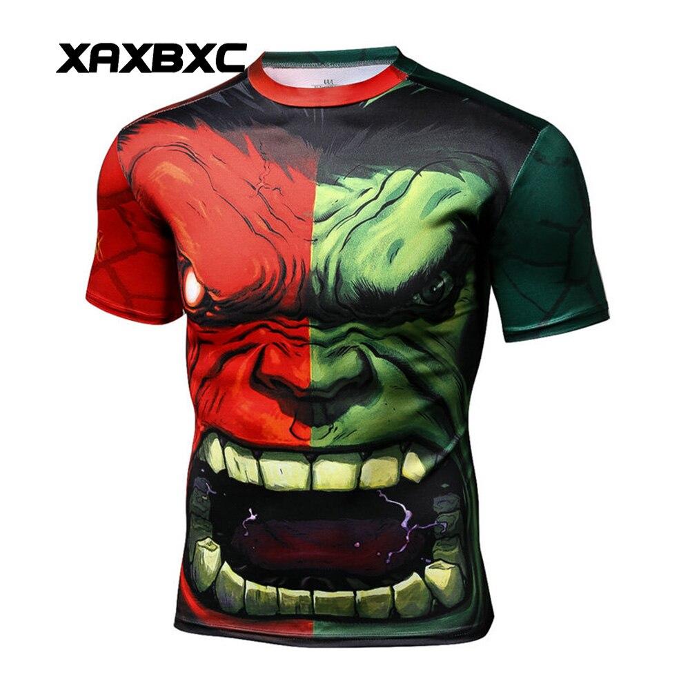 Nuevo 2019 cómics de verano los Vengadores rojo verde Angry Hulk imprime Quick-dry Fitness Camiseta de manga corta para hombres camisetas