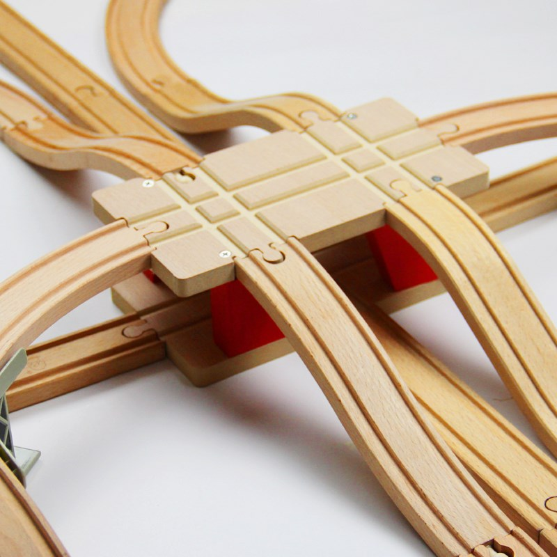 EDWONE Transportation Hub Track Train Slot Wooden Railway Train Circular Track Accessories fit for   Biro