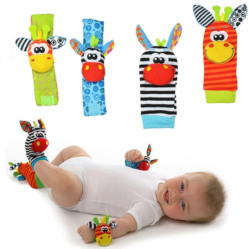Baby rattle toys Garden Bug Wrist Rattle and Foot Socks Animal Cute Cartoon Baby Socks rattle toys 9% off