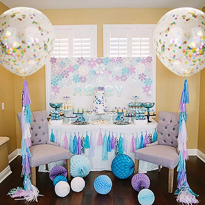 36 Inch Large Confetti Balloon Wedding Decoration Inflatable Clear Latex Balloons Birthday Party Blue Snowflake