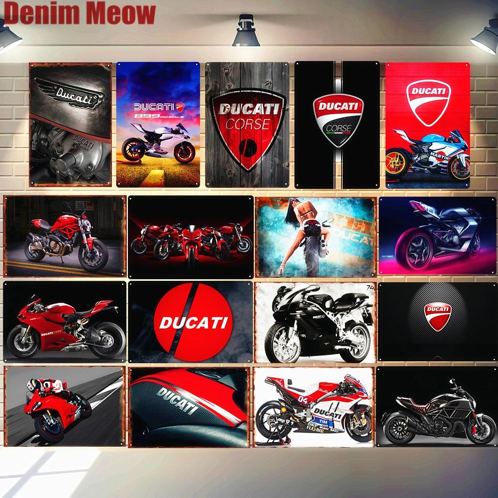 Металлическая жестяная вывеска Ducati Corse, винтажная декоративная пластина для паба, гаража, мотороллс, железная живопись, настенные художественные наклейки N280