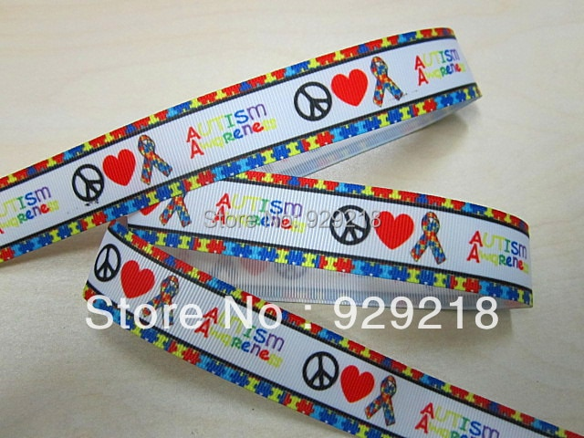 10 yards los 7/8 inch 22mm 626144 autismus awareness design gedruckt ripsband